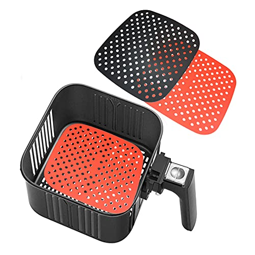 Reusable Air Fryer Liners – 7.5 Inch Square Food-Grade Silicone Air Fryer Mats, Air Fryer Accessories for INSTANT VORTEX, COSORI, POWER XL, NUWAVE, Replacement for Parchment Paper (Black+Red)