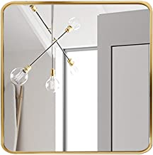 zwhw Vierkante spiegel muur, badkamer spiegel muur gemonteerd, make-up spiegel groot, HD explosiebestendig, ronde hoek, al...