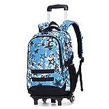 YFYBF Rotolamento ziani per la Scuola - I Bambini del Modello della Stampa Trolley Schoolbag 2 gommati Ragazzi primarie Ragazze Sacchetto di Viaggio per Adulti Adolescente Deposito,Blue Star 2 Rounds