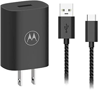 Motorola TurboPower Flip Charger with 3.3ft Braided Nylon USB-C Cable, Folding AC Blades, 18W QC3.0 Output, OEM for New Mo...