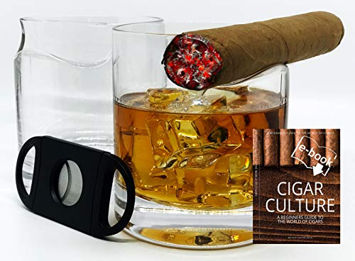 Set of 2 Whiskey Glasses with Top Mounted Cigar Rest; Includes Cigar Cutter and eBook