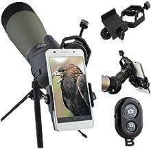 AccessoryBasics Binocular Spotting Scope Telescope Microscope periscope adapter Mount for iPhone 11 XR XS MAX X 8 Plus Galaxy S9 S10 Note Pixel Smartphone video image recording [FREE REMOTE SHUTTER]
