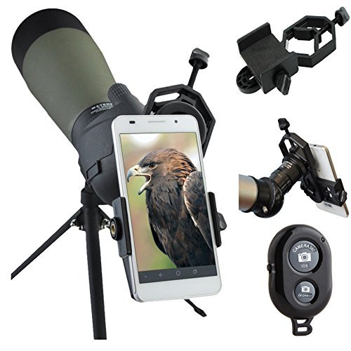 AccessoryBasics Binocular Spotting Scope Telescope Microscope Periscope Adapter Mount for iPhone 11 XR XS MAX X Galaxy S20 S10 Note Pixel Smartphone Video Image Recording [Includes Remote Shutter]