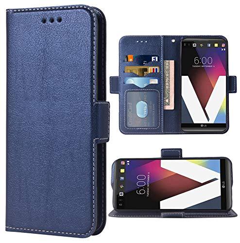 Phone Case for LG V20 Folio Flip Wallet Case,PU Leather Credit Card Holder Slots Heavy Duty Full Body Protection Kickstand Hard Hybrid Protective Phone Cover for LGV20 V 20 LG20 Women Men Dark Blue