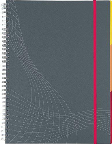 AVERY Zweckform 7017 Notizbuch notizio (A4, Kunststoff-Cover, Doppelspirale, kariert, 90 g/m², 90 Seiten mikroperforiert, Notizblock mit Verschlussband, Registern und Dokumententasche) grau