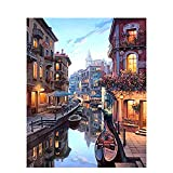 Paint by Numbers Kit for Adults Beginner, Romantic Venice Night View Pre Printed Canvas to Paint with Paint Brushes DIY Paintwork Drawing Art - Home Wall Decor Christmas Choice -16x20 inches(No Frame)