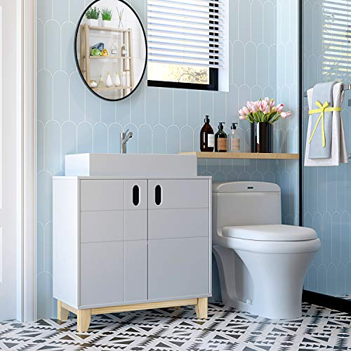 HOMECHO Armario para Debajo de Lavabo de Suelo con 2 Puertas Mueble de Almacenamiento para Baño de Madera Color de Blanco 60 x 30 x 60 cm