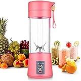 Licuadora personal [versión actualizada], vaso exprimidor portátil/mezclador de frutas eléctrico/batidora de zumo USB, recargable, seis cuchillas en 3D para una excelente mezcla, 380 ml rosa