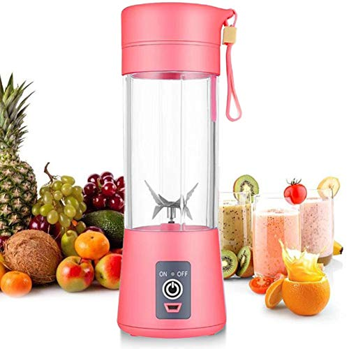 Personal Blender [Upgraded Version], Portable Juicer Cup/Electric Fruit Mixer/USB Juice Blender, Rechargeable, Six Blades in 3D for Superb Mixing, 380mL (Pink)
