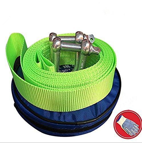 Towinle Corde de Remorquage Auto Câble Sangle de Remorquage 5M 10 Tonnes avec Gants Antidérapants et Sac de Rangement