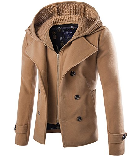 Cloudstyle Mens Wool Blend Coat Double Breasted Winter Outwear Pea Coats with Hoodie Warm Jacket Khaki