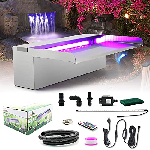 LONGRUN Pool Fountain Stainless Steel Outdoor Pond Spillway Waterfall with Wider Water Flow Platform Multi-Color LED Light Spray Indoor Waterfall Fountains for Garden-11.8' x 8' x 3.94'(W x D x H)