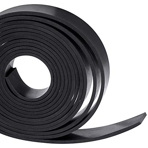 Solid Neoprene Rubber Strips Roll 1/8 (.125) inch Thick X 1 inch Wide X 10 Feet, for DIY Weather Stripping, Gasket, Seal