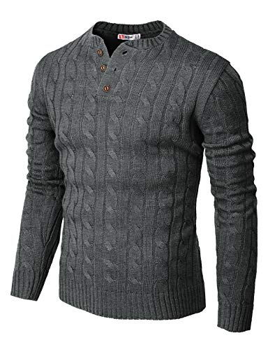 H2H Mens Casual Slim Fit Pullover Sweaters Knitted Henley Long Sleeve Thermal Charcoal US M/Asia L (CMOSWL042)