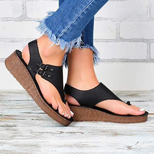 JFFFFWI Sandalias de corrección de juanetes para Mujer Sandalias cómodas de Plataforma Cuero de PU Sandalias de Gladiador con Hebilla Hueca Zapatos de Playa Confort Casual Ajustable, Negro, 37