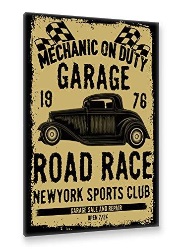 Postereck - Premium Leinwand - 2047 - Vintage Plakat, Auto Schild Retro alt Werkstatt Wagen - Größe 50,0 cm x 35,0 cm