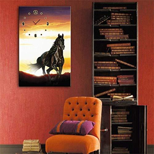 MKJ004 Moderne minimalistische creatieve licht moderne stijl canvas schilderij Mercedes - Mercedes paard wandklok in canvas 1 stuk,24 * 34cm
