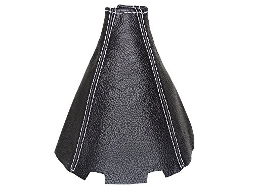 Soufflet de levier Cuir véritable Noir Blanc Coutures