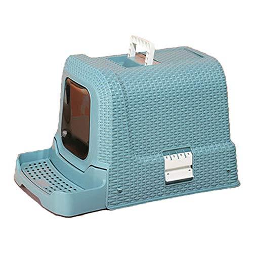 Caja de pedal de arena con pedal para gato totalmente defendido, diseño portátil, con hebilla, para gatos cerrados, no cubre arena y evita el olor (color: azul)