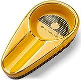 Ashtray Cigarro sólido único clásico uso de cerámica al aire libre o en interiores (color: blanco) hermoso (color: amarillo)