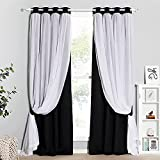 PONY DANCE Black Out Curtains - Double Layers Blackout Window Covering Sheer Linen Drapes with Grommet Curtains, 52 x 95 inch, Black, 2 PCs