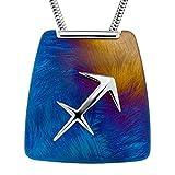 LillyMarie Damas Cadena del Cuello Plata Colgante Zodiaco Sagitario Azul Titanio Longitud-ajustable Caja de la Joyería Regalo Novia