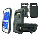 Mstechcorp - For Samsung Galaxy Ace 4 Lite G313ML, Hybrid Advanced Armor Stand Case With Holster and Locking Belt Clip (S SINGLE BLACK)