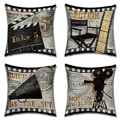 Fundas De Cojines Funda De Almohada Lino 4 Fundas Cojines Decorativos para Sofa Funda De Cojín De Póster De Película Vintage para La Decoración del Hogar Sofá Cama del Coche 50X50Cm
