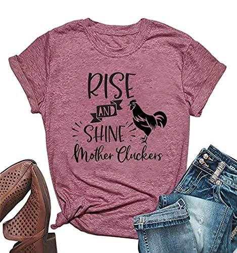 Rise and Shine Mother Chicken Mom Cute T Shirts Women's Letter Print Mom Life Tees Tops Farm Country Casual Tshirt (Large, Pink1)