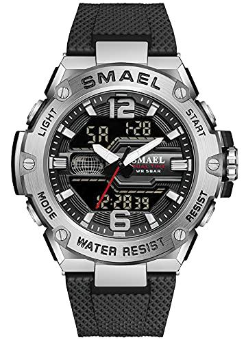 KDM Digitale Armbanduhr für Herren Army Military Outdoor Sport Wasserdichter Chronograph Analog Digitaluhr Schwarze LED Elektronische Armbanduhr Mit Stoppuhr Alarm Datum