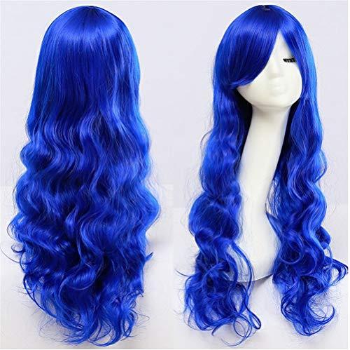Anime perruque COS Anime perruque Europe et Amérique 80cm Couleur longs cheveux bouclés (Color : Dark blue)
