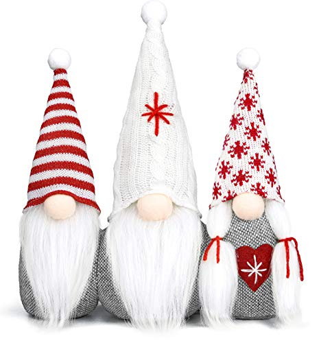 Gnomes Christmas Decorations -16 Inches Gnomes Family Set/ Scandinavian Christmas Gnome, Elf Decoration Ornaments Thanks Giving Gifts Swedish Knitting Gnomes Tomte