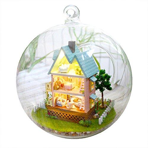 (moin moin) ミニチュア ドールハウス キットセット 音感センサー 搭載 ガラスボールシリーズ No.11(ピンクの壁の家)