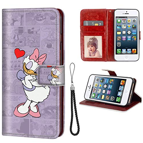 DISNEY COLLECTION iPhone 5C Wallet Phone Case Leather Cash Card Case Disney Dasiy Wallpaper Cute Tvshow Clubhouse Daisy Duck Anti Slip
