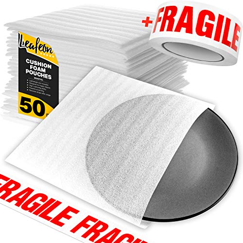 "9.5"" x 9.5"" Foam Wrap Pouches for Shipping Packing Storage, Moving Supplies - Foam Pouches are a Great Alternative to Moving Paper & Bubble Envelopes - Perfect for Moving and Packing Boxes – 50 Pack"