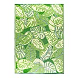 Talking Tables Green Tropical Palm Leaf Waterproof Outdoor Rug | Plastic, Lightweight & Non Slip Mat with Jungle Leaves Pattern | for Garden, Patio, Decking, Bathroom, Utility, Picnic