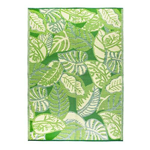 Alfombra de exterior impermeable verde hoja de palmera tropical | Tapete de plástico liviano y antideslizante con diseño de hojas de selva de doble cara | Para jardín, patio, terraza, baño, picnic