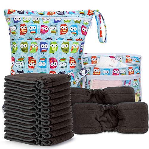 Luxja 5 Schichte Windeleinlagen für Babywindeln mit Falten, Bambuskohlefaser Stoffwindeleinlagen Set, 12er Waschbare Babywindel+ Nasstasche+ 1Wickelunterlage für Babys, Bambuskohlefaser mit Falten