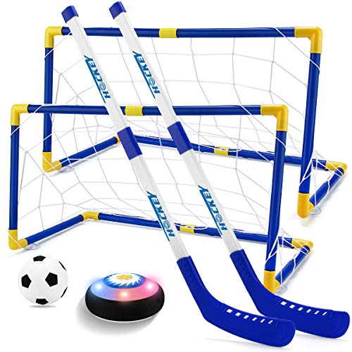 Hover Hockey Set Boys Toys - 2 in 1 Hockey & Soccer Sport Toys With 2 Goals, Hover Ball With LED Lights, Multiplayer Hockey Games, Toys for 3 4 5 6 7 8 9 10 11 12 Year Old Boys Girls Kids Best Gift