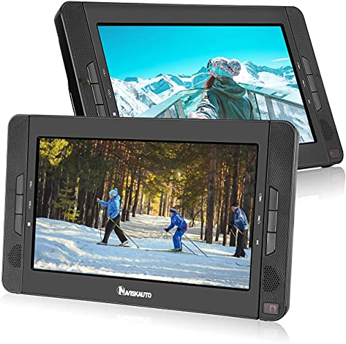 NAVISKAUTO 2 10,1' Tragbarer DVD-Player 5 Stunden Auto Kopfstütze Monitor 1024*600 HD Bildschirm Kopfstützenhalterung, HDMI IN, USB, AV IN/OUT 12V