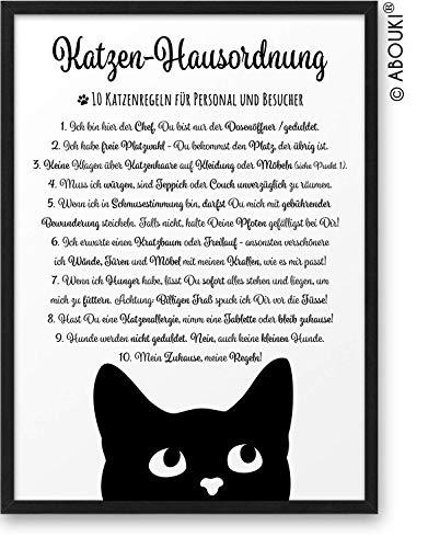 Katzenregeln II Katzen-Hausordnung ABOUKI® Kunstdruck Poster Bild Geschenkidee Geburtstag Weihnachten für Katzenfans Katzenliebhaber - ungerahmt DIN A4