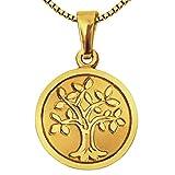 Clever Schmuck - Colgante dorado del árbol de la vida, con 12 mm de diámetro, mate, con árbol y borde en relieve, brillante, oro 333, 8 quilates, cadena dorada Venezia de 42 cm