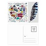Love Heart Big Ben Bus UK Landmark Flag Lucky Feather Postal Set de tarjetas de agradecimiento lateral 20 piezas