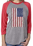 Unisex USA American Distressed Flag 3/4 Sleeve Tri Blend Tshirt Large Red