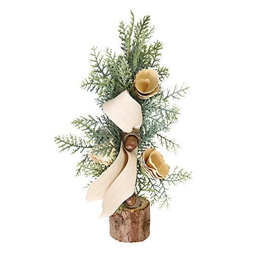 Storerinedéco - Albero di Natale Artificiale con Fibra Ottica, Decorazione da Tavolo, Piccolo Albero di Natale, Oggetti di Decorazione Scintillanti LED, Supporto in Legno, Regalo di Natale Originale