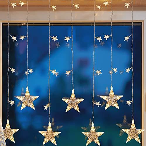 HELLUM 576351 39-teiliger LED-Sternenvorhang für innen, 7 Stränge, 15cm Strangabstand, warm-weiß, 7 große, 32 kleine Sterne, 1m * 1,2m + 3m Zuleitung, Kabel transparent, inkl. Trafo
