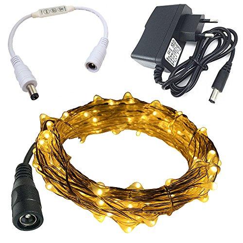 eleidgs 10 m/33 ft DC12 V 100 LED étanche fil de cuivre ciel étoilé LED String avec (Blanc chaud) + indicateur LED Contrôleur Variateur + DC 12 V 1 A AC Power adaptateur