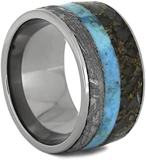 Meteorite Ring with Turquoise and Fossil Inlays, Size 5.5-RS10959