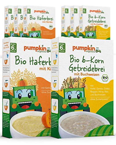 Babybrei Mix 2x4   4x200g Haferbrei & 4x200g 6-Korn Getreidebrei   Pumpkin Organics
