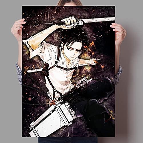 Zhengnengliang Anime Attack On Titan Protagonista Masculino Pintura Arte Decoración para el hogar Guardería Habitación de los niños Sofá Decoración de la Pared Cartel de la Lona 50x70cm J-715